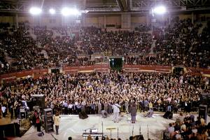 2001 Morris Cerullo Madrid, Spain Crusade at La Cubierta  where hail stones fell inside this covered bull ring for serveral minutes as Dr. Cerullo preached. One of the most dramatic supernatural signs have witnessed in 26 years of ministry with Morris Cerullo.